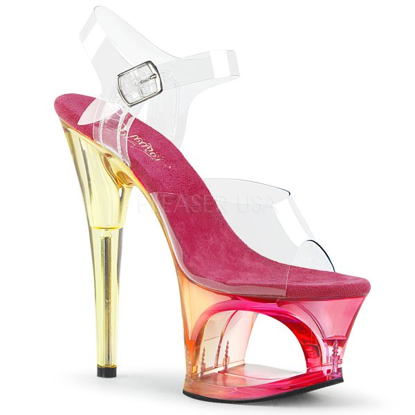 Durchsichtige Sandalette mit pink getöntem ausgeschnittenem Cut-Out Plateau MOON-708MCT